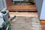 Deck building 16 -Sanding some boards in place -small.JPG