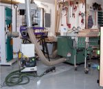 Crowding machines into a corner so that the floor can be sanded and painted -small.JPG