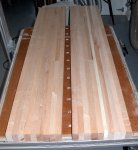 Woodworking bench 09 -the two bench top segments ready to be glued together -small.JPG