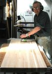 Woodworking bench 12 -Frank sanding the top -small.JPG